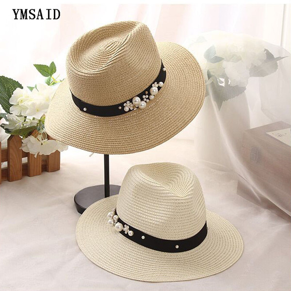 Earl estereoscópica perla sombrero de verano Costura de color playa de paja sombreros de sol para las mujeres sombrero de estilo de verano 2017