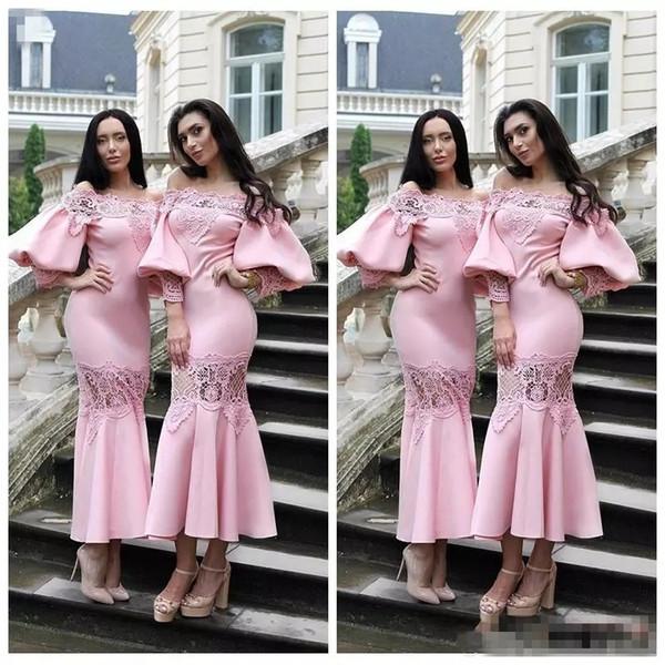2018 Özel Ince Juliet Kollu Çay Boyu Pembe Gelinlik Modelleri Dantel Aplikler Örgün Balo Parti Törenlerinde Kısa Onur Hizmetçi Bayanlar giymek