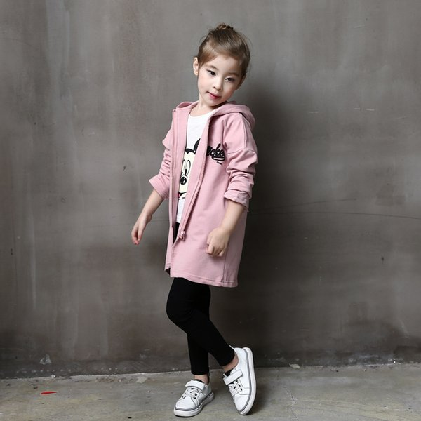 2017 spring and autumn korean girls clothing cartoon patch in the long section hooded sweater zipper cardigan coat windbreaker t thumbnail