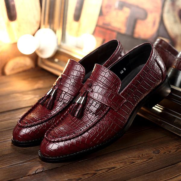 Scarpe da uomo Scarpe da uomo in pelle di coccodrillo Slip On Oxford Scarpe da uomo in pelle Scarpe eleganti da uomo