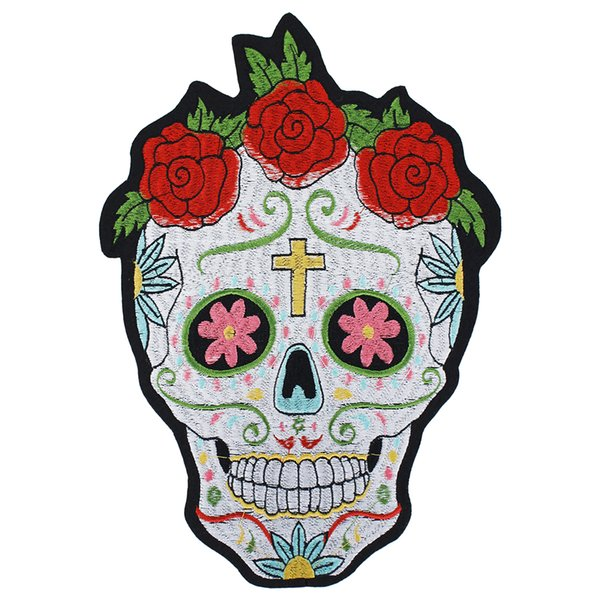 Skull Cross Rose Embroidery Iron On Patches Applique for Jacket Clothes Stickers Badge DIY Apparel Accessories 2pieces