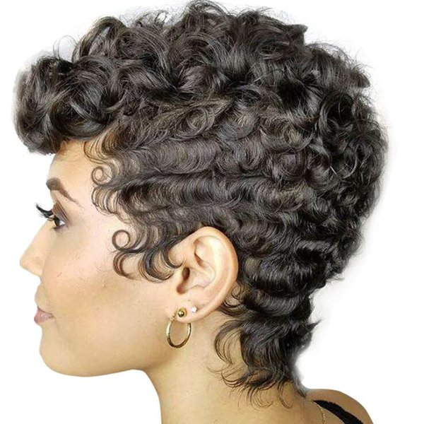 Best-seller Couleur Noir naturel perruque de cheveux Lady Mode court résistant perruques synthétiques pour les femmes noires de haute qualité Rose intérieure nette