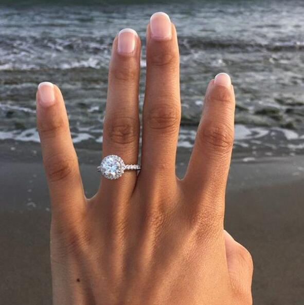 Luxury Round White Sapphire 925 Silver Promise Ring Wedding Jewelry Gift Size 6-10