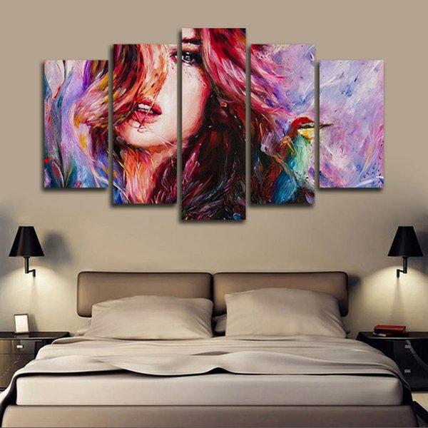 (Só Canvas No Frame) 5pcs Pintura a óleo de impressão parede bonita mulher do art HD Tela de impressão Pintura Moda pendurar quadros para decoração do quarto