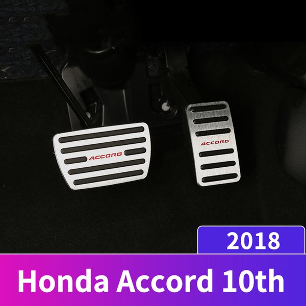 Aluminum alloy Car Styling Accelerator Gas Pedal Brake Pedal Non Slip Pedal Pads Cover AT For Honda Accord 10th 2018 Accessories
