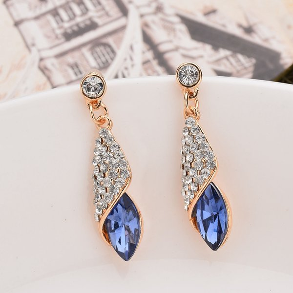 European and American Fashion Pop Jewel Glass Drop-shaped Earrings Ocean Heart with Blue Women's Gift A Pair