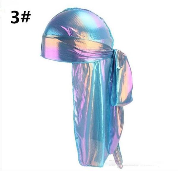 Colorido Sparkly Durags Turban Bandanas para hombre Brillante y sedoso Durag Headwear Cintas para el pelo Cubiertas para el cabello Olas