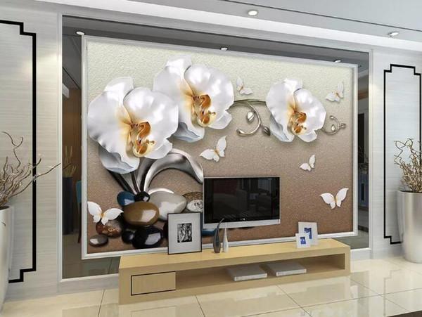 Papel de Parede murale papier peint photo BIJOUTERIE or luxe 3d phalaenopsis TV papier peint toile de fond pour les murs 3 d