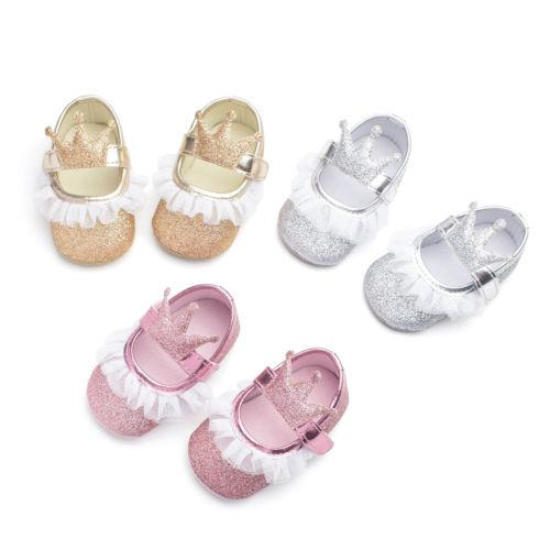 Toddler Baby Shoes Newborn Kid Girls Soft Soled Princess Crib Crown Shoes Baby Casual Summer Cute Girl 0-18M