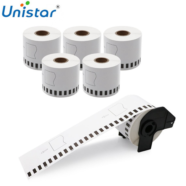 Unistar 5 Rolls DK-22205 Shipping Labels Compatible for Brother Thermal Paper 62mm with Refillable Cartridge DK2205 DK22205