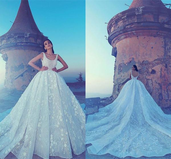 Luxury Lace Appliqued Sequined 3d Flowers Wedding Dresses Vintage