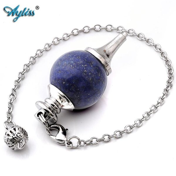 Wholesale-Ayliss Hot Style 1 pc Pendulum Divination Dowsing Healing Point Chakra Ball Bead Wicca Chain Pendant Jewewlry Dyed Lapis Lazuli