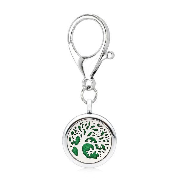 Silver Essential Oil Diffuser Keychain DIY 25mm Aroma Locket dad Key Ring fit pet collar 5pcs pads