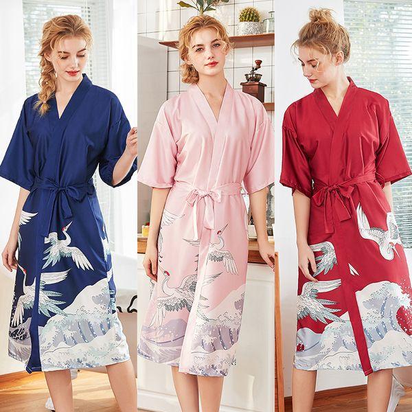 pijamas de casamento de seda senhoras primavera e verão longo dama de honra vermelho noiva vestido de manhã mantos de casamento para damas de honra e noiva