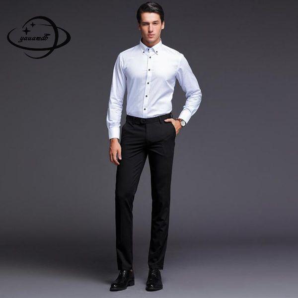 pantaloni da uomo estate pantaloni maschili abbigliamento cerniera sottile sottile tipo dritto elasticità uomo vestito pantaloni vestiti Y90