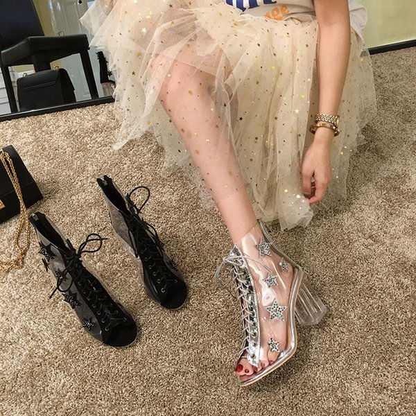 Women's shoes high heel 2019 new summer crystal with Roman sandals open toe transparent lace ankle boots