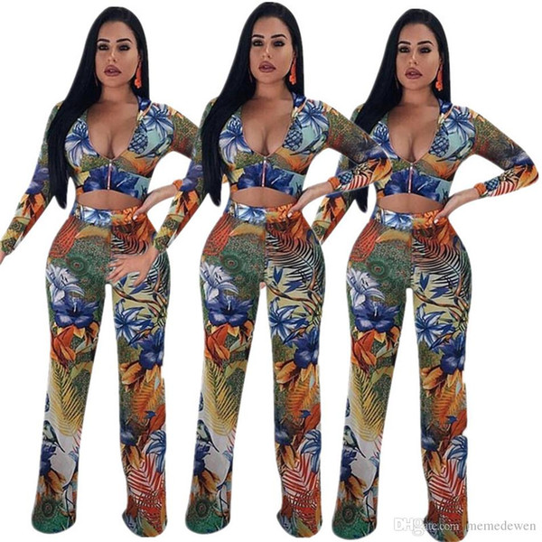 Two-piece set nightclub long-sleeved printed v neck sexy blouse top printing trousers pants Street Hipster Fashion set NB-690