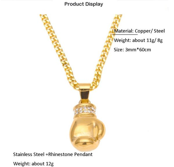 Supply Europe and America hip hop new mini pendant boxing gloves boutique color stainless steel necklace