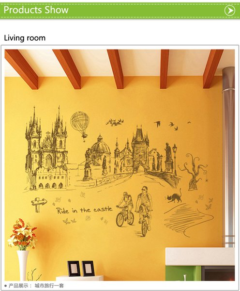 Retro City Travel Wall Sticker PVC backdrop decor for Home Decoration room Decals Wall Art Wallpaper Stickers on the wall poster