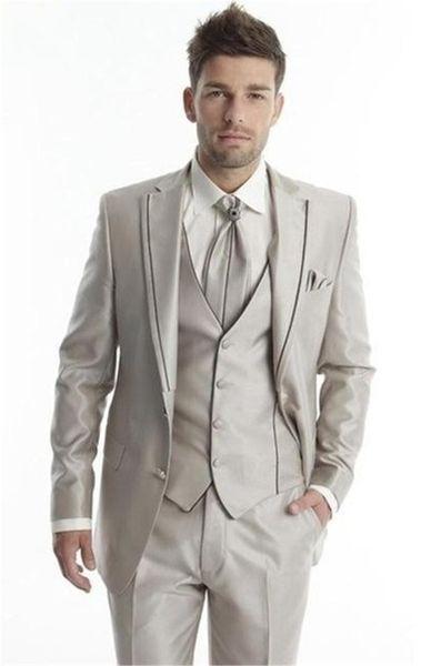 2019 Noivo Smoking Luz Champagne Groomsmen Casamento / Jantar Ternos Melhor Noivo Homem (Jacket + Pants + Tie + Vest)