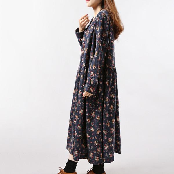 Nuevo 2019 Vestidos de Mujer Otoño Invierno Vintage Print Casual Manga Larga de Algodón Maxi Robe Túnica Floral Vestido de Talla Grande Más ropa de diseñador