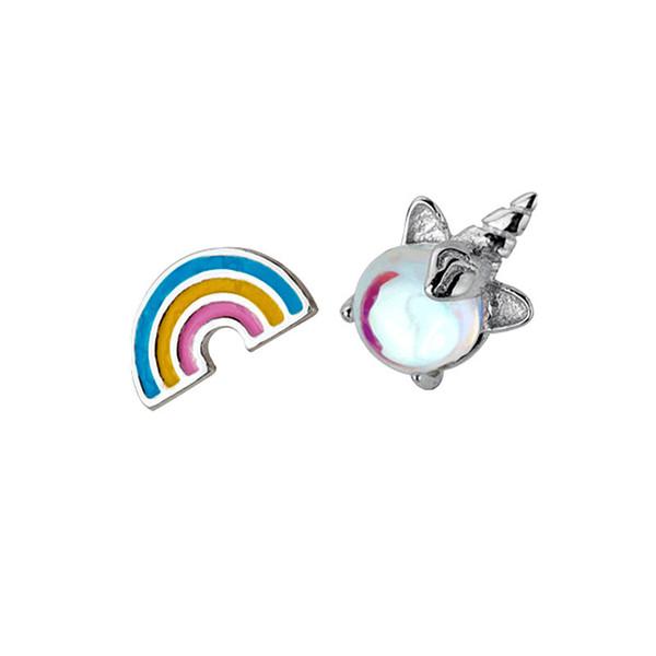 New s925 sterling silver unicorn rainbow asymmetric earrings ladies fashion simple small fresh earrings jewelry gift 6-ES3193