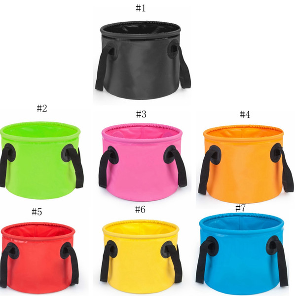 7Colors Fishing Bucket 13L Waterproof Storage Portable Folding Outdoor Bucket For Camping Fishing Hiking Durable Container Buckets EEA479