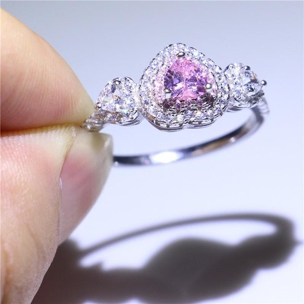 Pop Women Handmade Three-stone Jewelry Ring Romantic Heart Cutting Pink Sapphire CZ Real 925 Sterling Silver Wedding Ring For Women Size 5-9