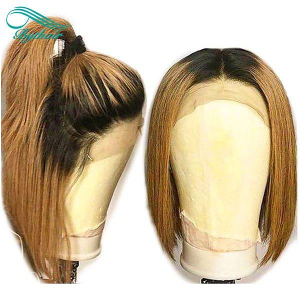 Ombre Color T1b / 30 Blonde Lace Front Pelucas de cabello humano Roots oscuros Corto Bob Peluca recta Brasileño de la Virgen Pelucas llenas del cordón Pre pulsado