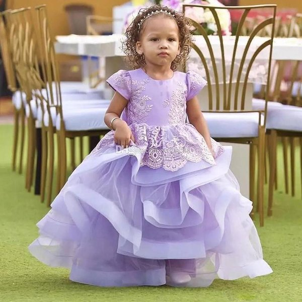 Lavender Tiered Ball Gown Flower Girl Dresses For Wedding Jewel Neck Lace Toddler Birthday Party Gown Ankle Length Kid Prom Dress