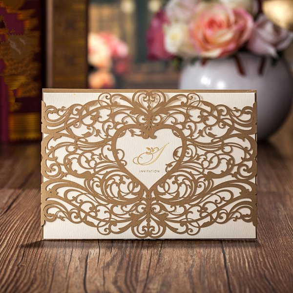 Custom Personalized Gold Wishmade Chinese Wedding Invitations with Envelopes, Seals, Personalized Printing,for Wedding Invitation Cards