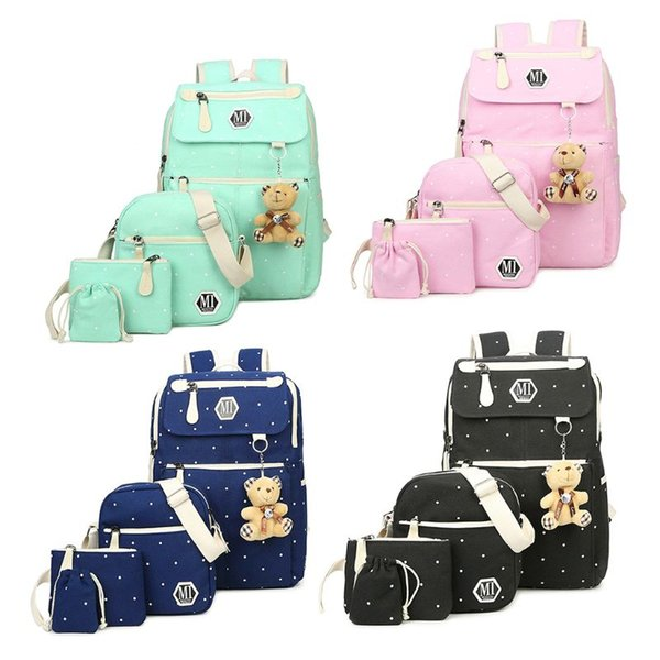 4Pcs Polka Dot Women Canvas Daypack Backpack with Cute Pendant Casual School Bag Handbag Coin Purse Set