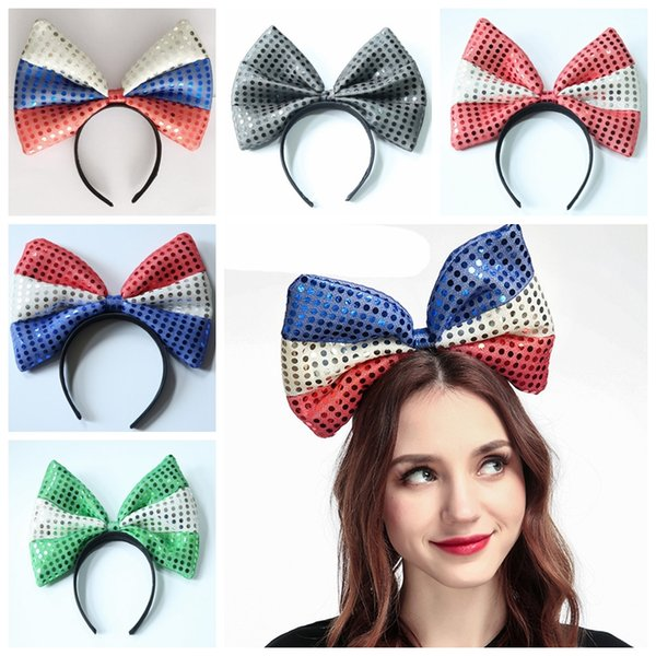 Super-large bowknot sequined fabric flag Hair sticks United States Independence Day National Day World Cup headdress striped dots accessory