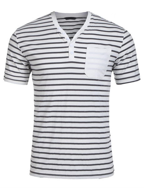 Fashion men's half buckle V-neck short-sleeved striped design style men's fashion casual loose T-shirt with pockets high-quality design Tee