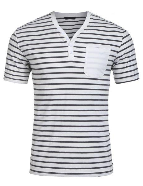 Moda uomo mezza fibbia scollo a V a maniche corte a righe stile di design moda casual da uomo T-shirt allentata con tasche design T-shirt di alta qualità