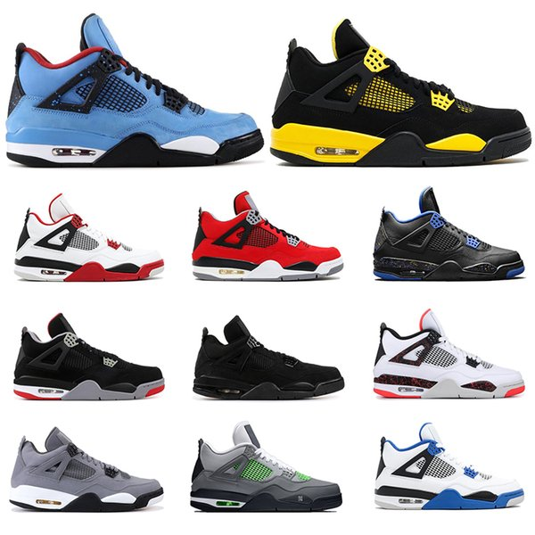 2019 mens basketball shoes 4s CACTUS JACK THUNDER Tattoo BRED Fire Red Cool Grey PURE MONEY MOTORSPORT mens sports sneakers size 7-13