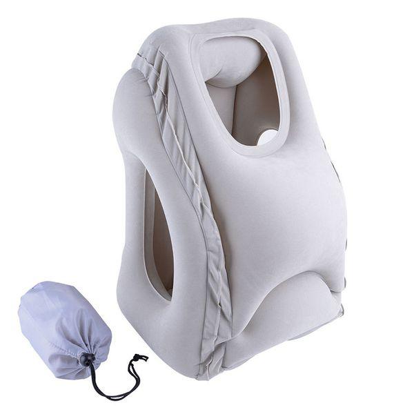 Inflatable Air Pillow Travel Pillow Air Bolster Comfortable Sleep Plane Car Soft Cushion Trip Foldable Office Desk Nap