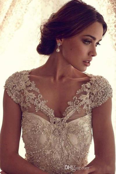best selling Gorgeous Beading 2019 New Lace Wedding Bolero Jacket Jewel Neck Cap Sleeve White Ivory V Neck Luxury Shawl Custom Plus Size