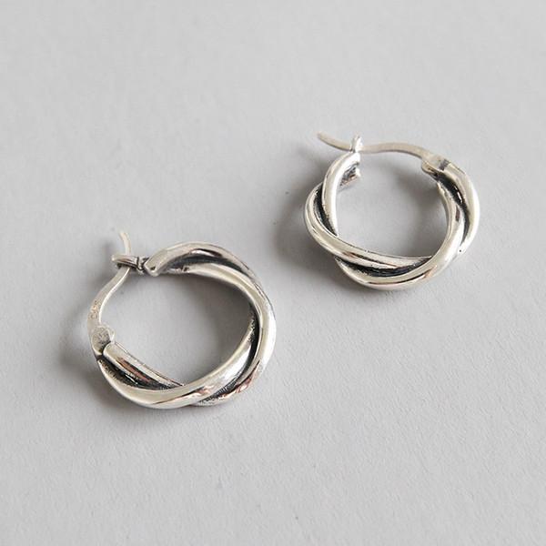 100% 925 Sterlingsilber-Weinlese-Weave Geflochtenes Band-Ohrringe für Frauen Studenten Silber 925 Schmucksache-Band-Kreis-Ohrring