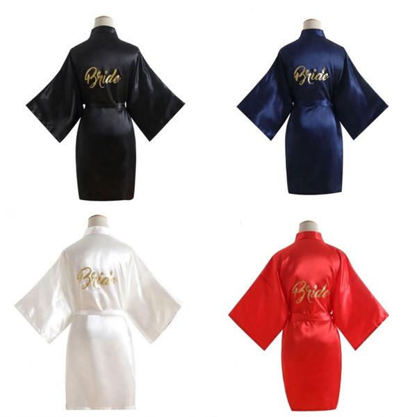 Novia Kimono Mujer Color puro Ocio Túnicas Mujeres Estampado dorado Letras inglesas Anti Pilling Robe Nueva llegada 21hs L1