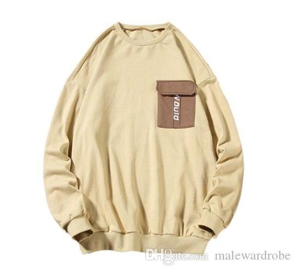 Autumn New Hoodies Men Fashion Solid Color Cotton Casual Pocket Pullover Man Streetwear Hip Hop Loose Sweatshirt Male Hoodie