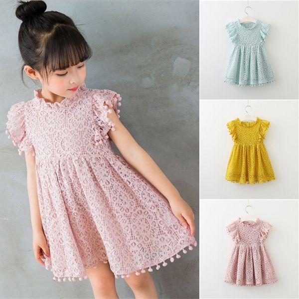 Yaz kızlar elbiseler 3 renkler çocuklar Elbise Moda Püskül Prenses Kız elbise çocuklar giysi tasarımcısı kızlar JY63
