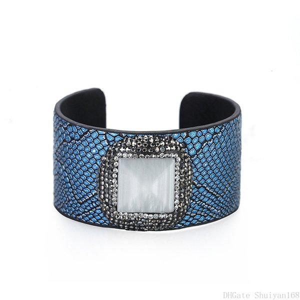 Bracciale aperto in pelle polsino Cat Eye pietra strass perline fascino largo serpente stampa avvolto braccialetto per le donne gioielli regalo di Natale vintage