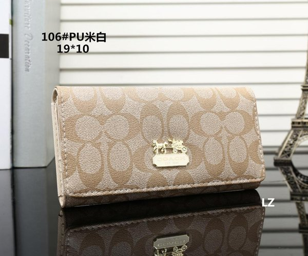 Hot! 2019 Wholesale Famous Brand Fashion Single Zipper Cheap Luxury Designer Women Pu Leather Wallet Lady Ladies Long Purse M12