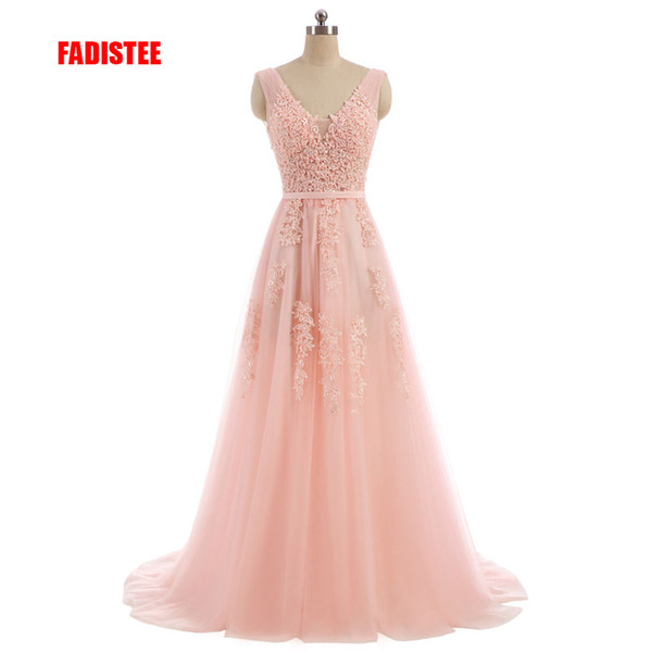 FADISTEE Vestido De Festa Sweet pink Lace V-neck Long Evening Dress Bride Party Sexy Backless beads pearls Prom Dresses