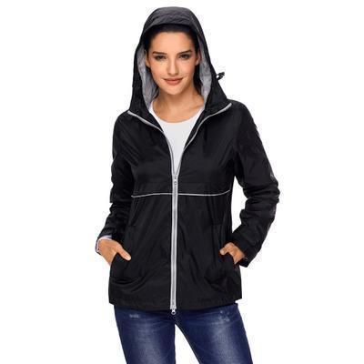 Women Solid Color Mountaineering Jackets Autumn Fashion Lady Large Long Sleeve Hooded Zipper Waterproof Raincoat Jacket