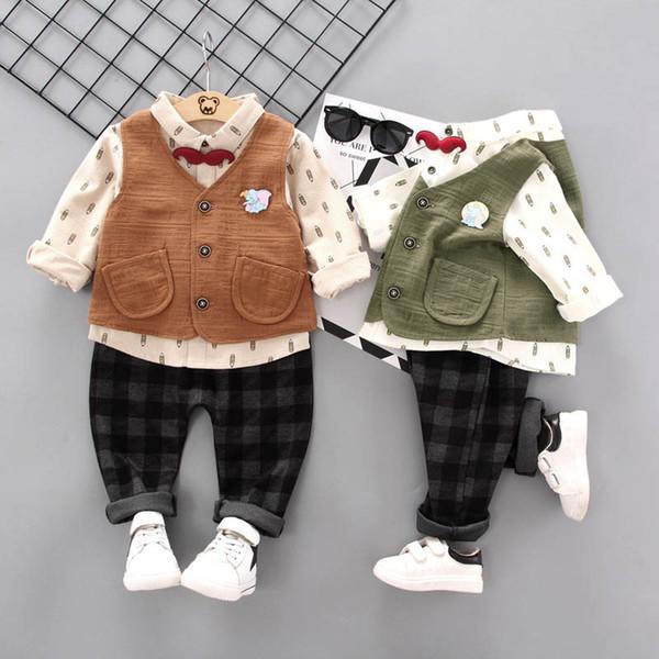 Neues Baby kleidet Babyklagen neugeborenes Ausstattungshemd + Weste + Hosen 3pcs Baby-Säuglingsjungen-Entwerfer kleidet A7752