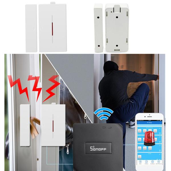 Wireless Window Door Alarm Magnet Sensor SONOFF 433Mhz Detector for Home Security Voice Burglar Alert System