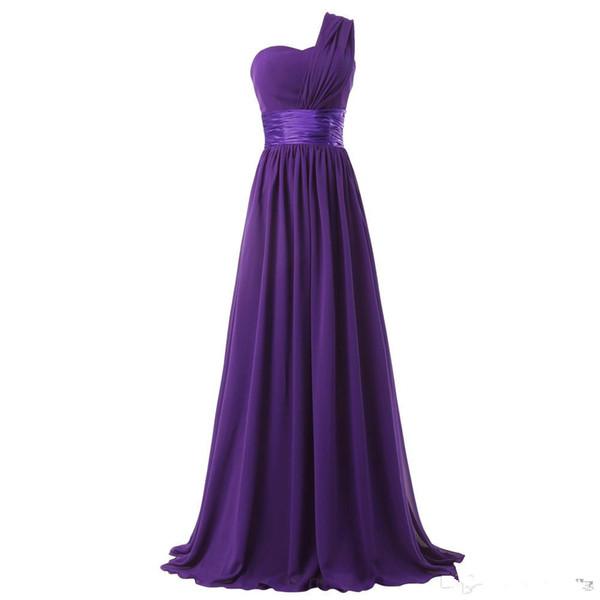 One Shoulder Long Chiffon Bridesmaid Dress Burgundy Purple Black New Elegant Women Party Dress Lace Up