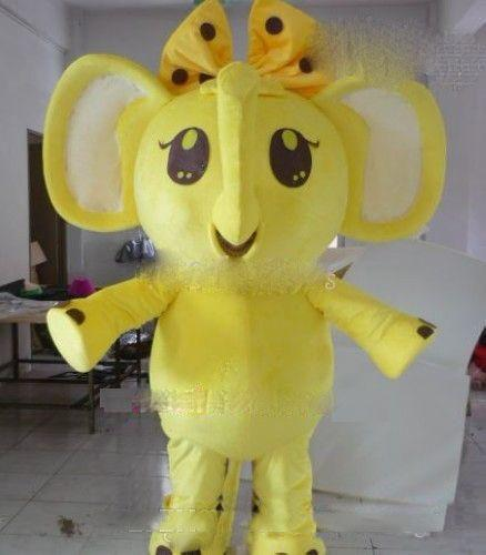 2019 venta directa de fábrica amarillo elefante traje de la mascota de lujo elefante amarillo personaje de dibujos animados vestido de fiesta envío gratis